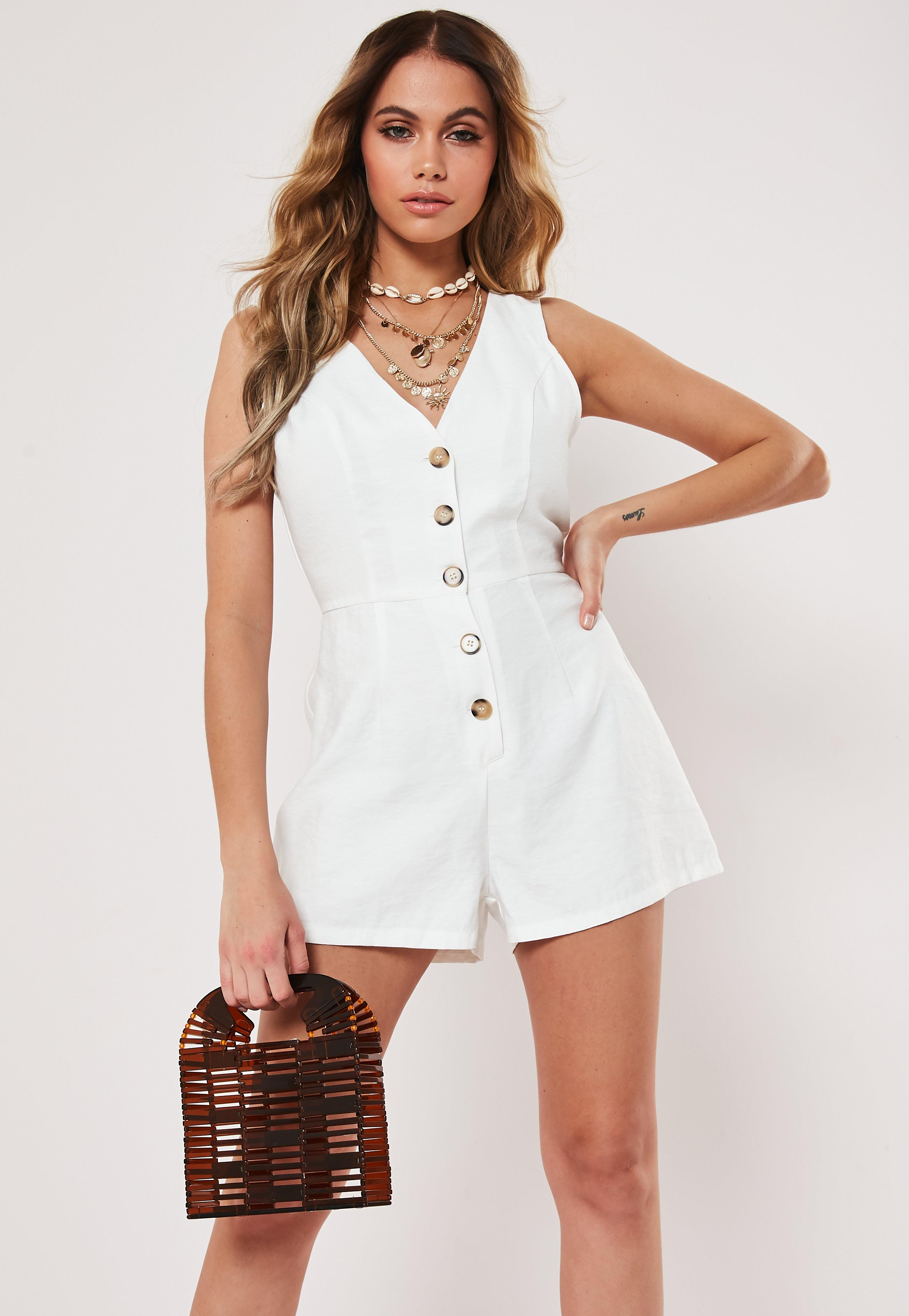 990f03f52 White Linen Look Button Front Playsuit | Missguided Australia