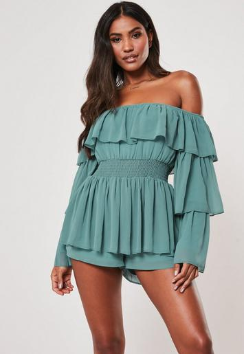 Blue Ruffle Bardot Playsuit by Missguided