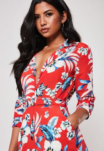 timeless design real quality good quality Missguided - Red Floral Zip Front Blazer Playsuit