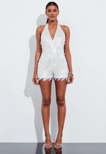 check-out ada06 a4b17 Missguided - Combishort blanc à franges paillettes Peace + Love
