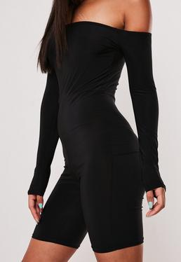 Черный комбинезон с длинным рукавом