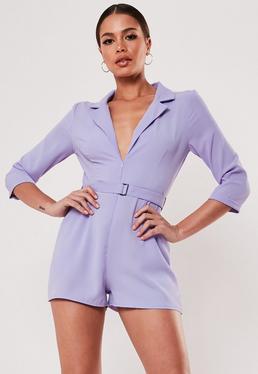 Костюм-пиджак с сиреневым поясом