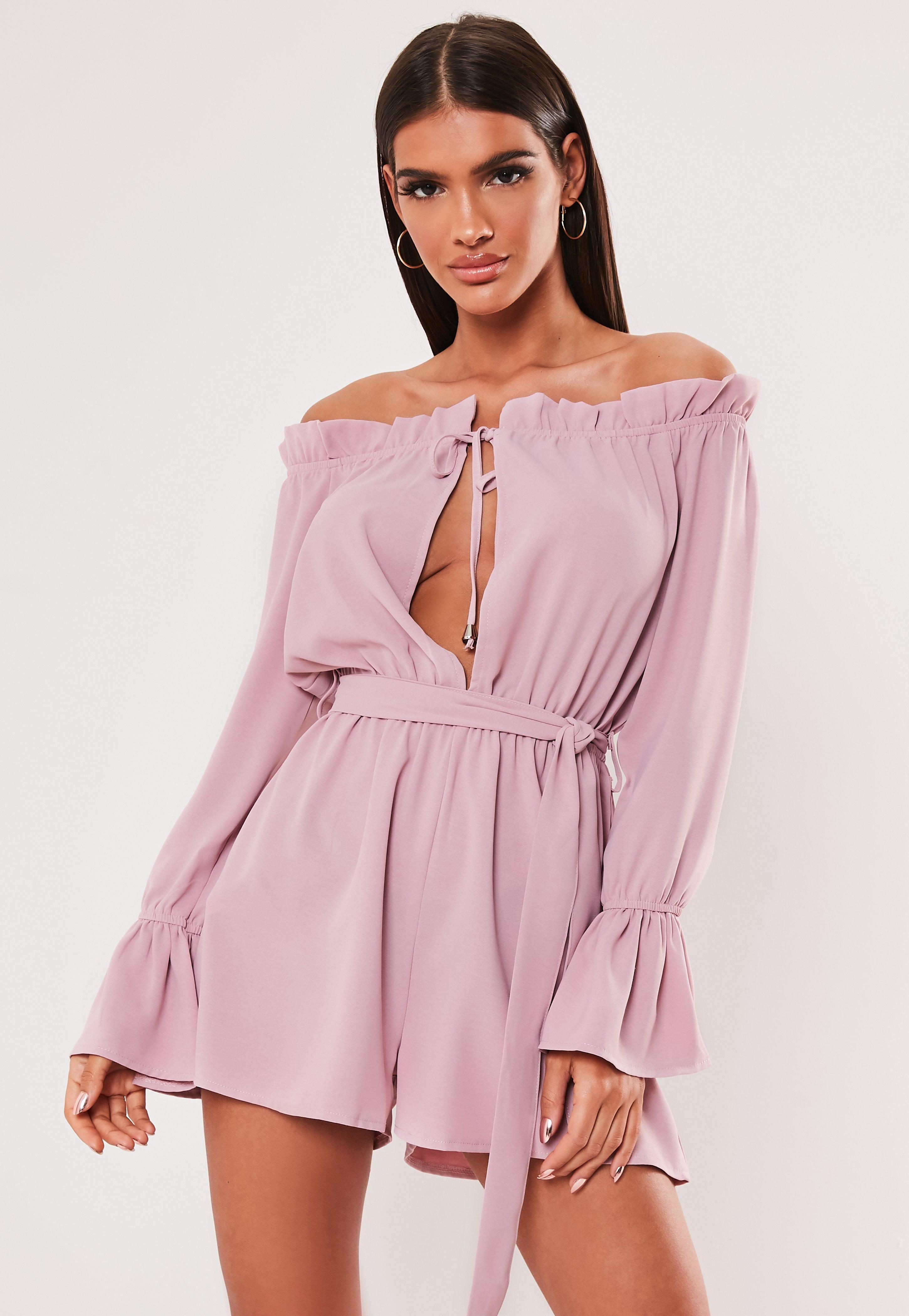 Mauve Bardot Keyhole Frill Sleeve Romper by Missguided