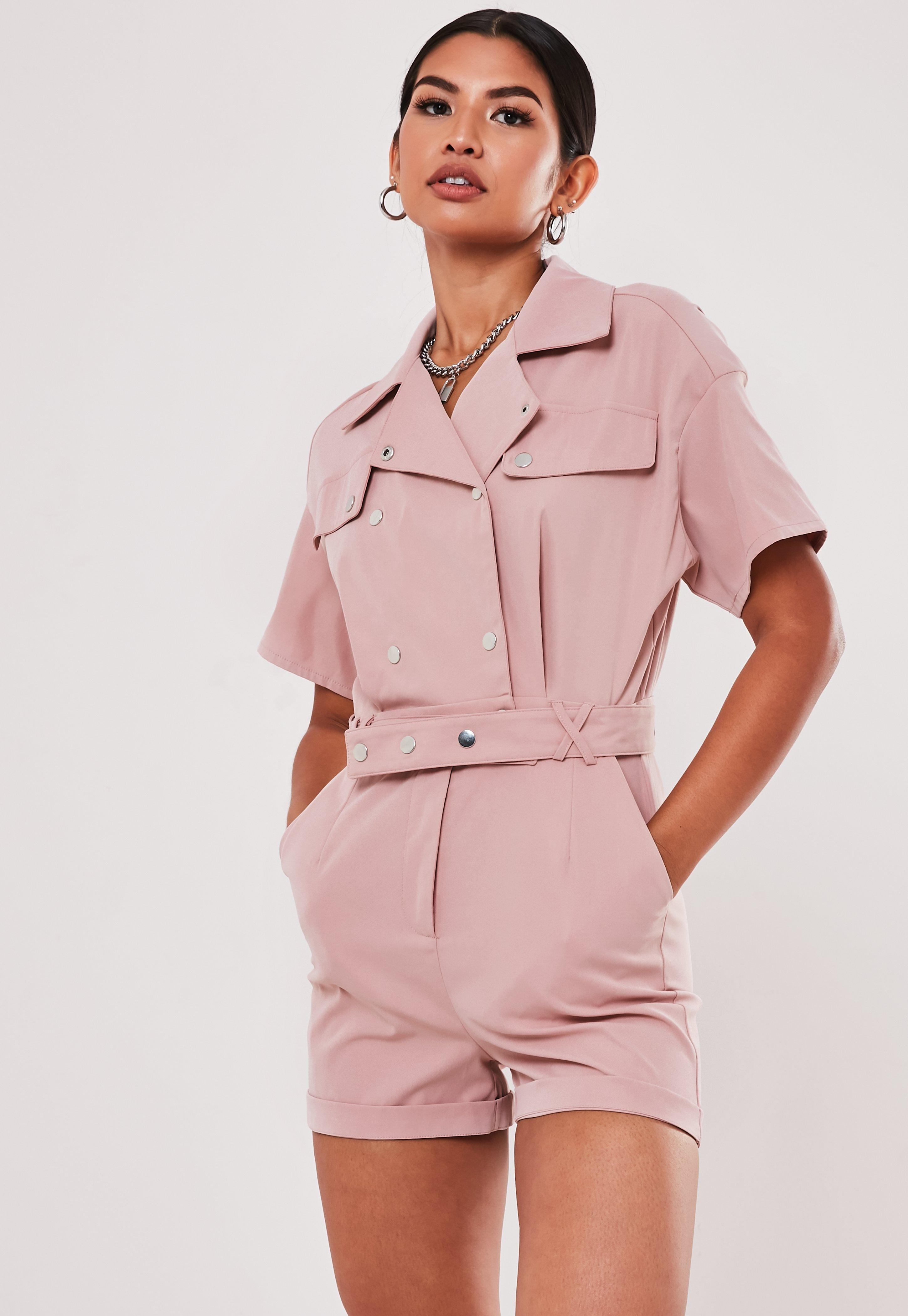Rose Utility Short Sleeve Popper Romper by Missguided
