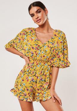 Костюм-плащ с желтым цветочным принтом