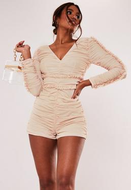 Nude Ruched Long Sleeve Romper