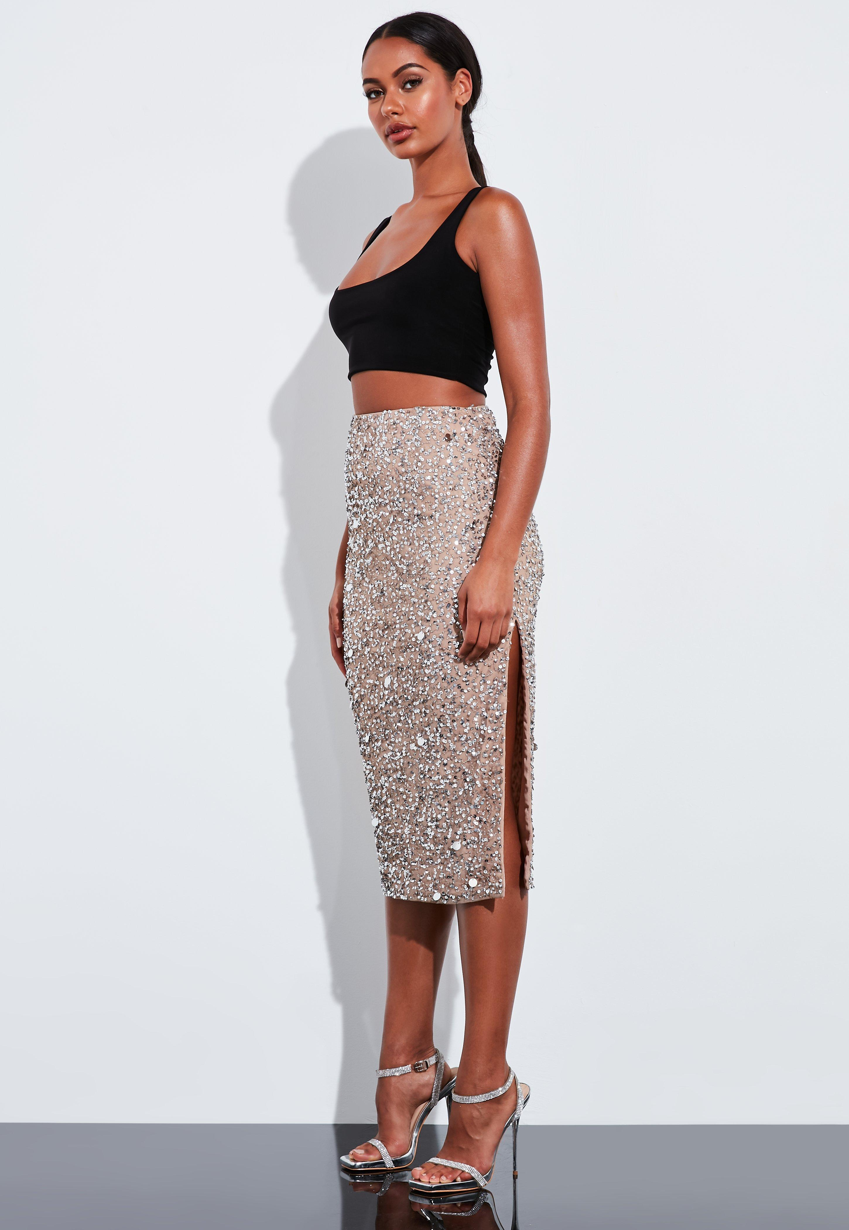 on wholesale 100% genuine hot products Peace + Love Silver Sequin Embellished Pencil Skirt | Missguided