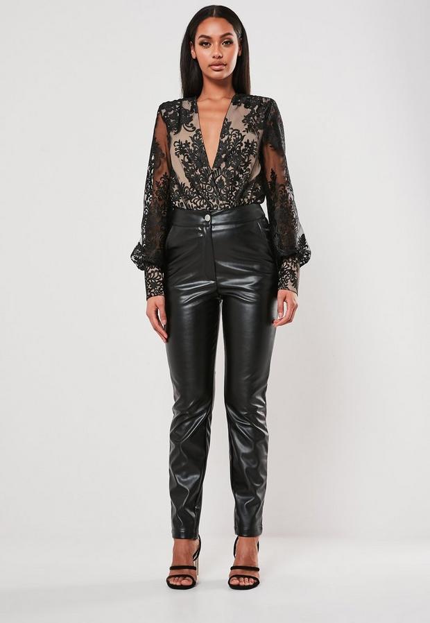 Black Organza Lace Bodysuit