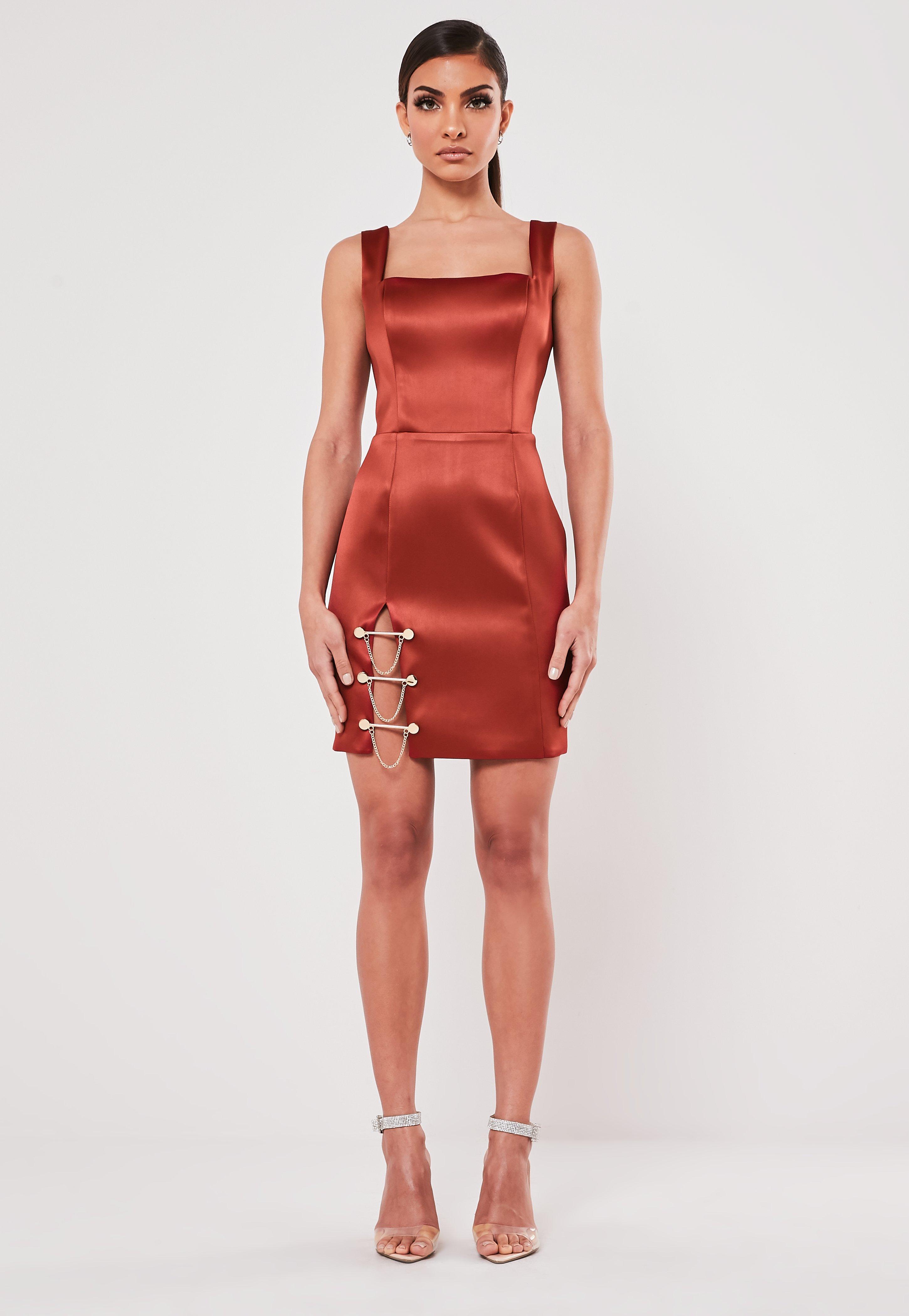 Peace Love Rust Bar Trim Satin Mini Dress