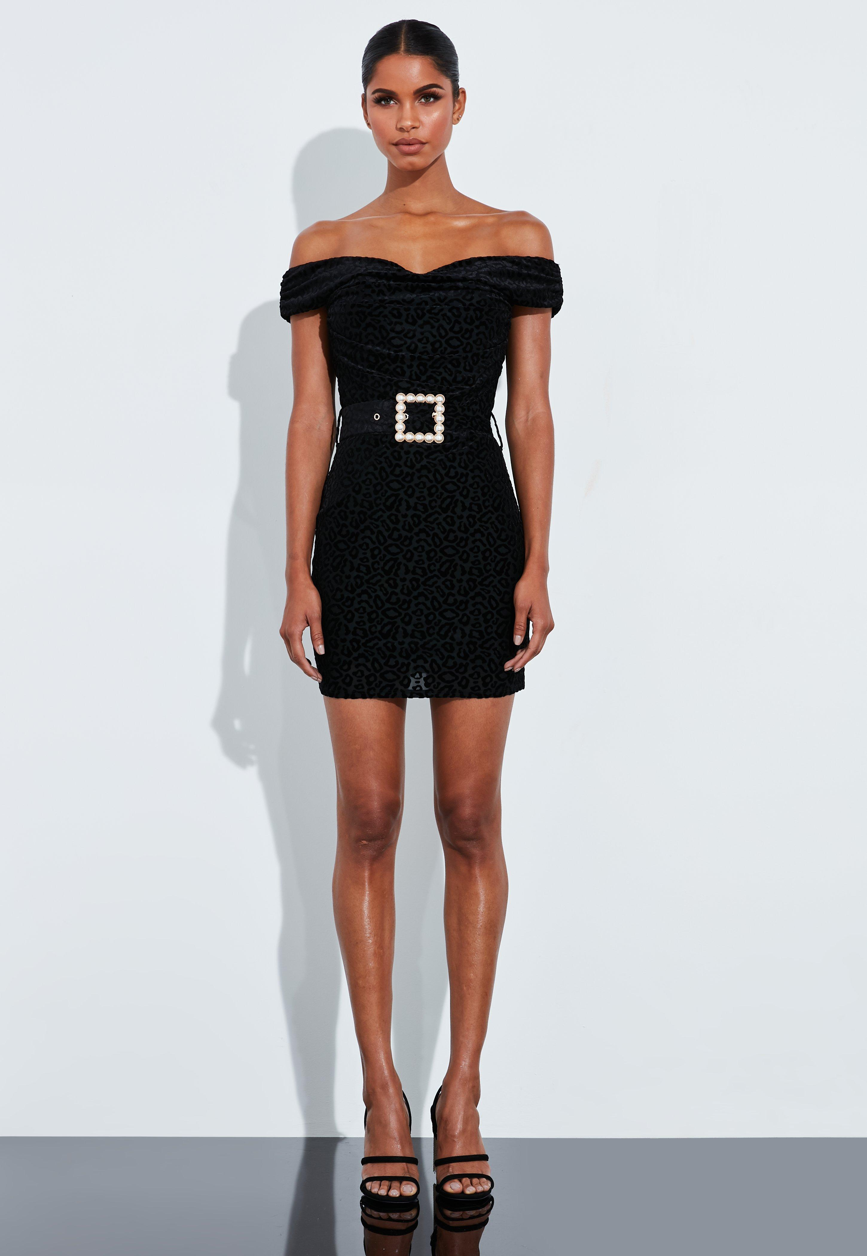 Peace + Love Black Jacquard Animal Pearl Detail Belted Dress