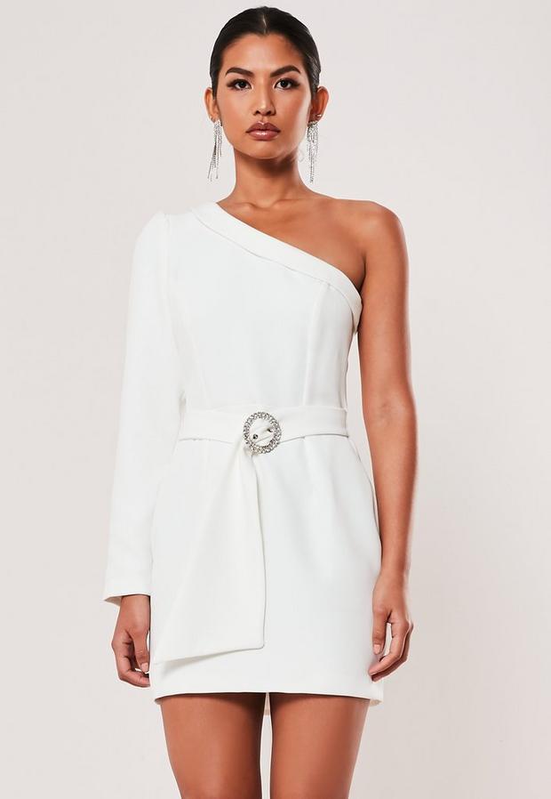 Ivory Gathered One Shoulder Belted Blazer Dress