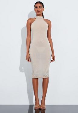 Платье миди с высокой горловиной и декольте Peace + Love