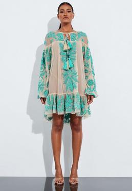 Миниатюрное платье-аппликация бирюзового цвета Peace + Love