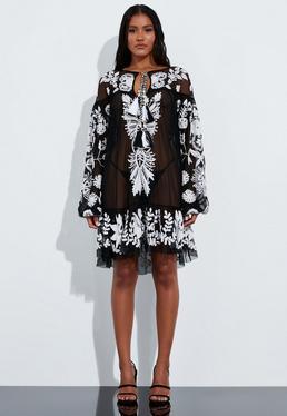 Миниатюрное платье в стиле аппликации с черной сеткой Peace + Love