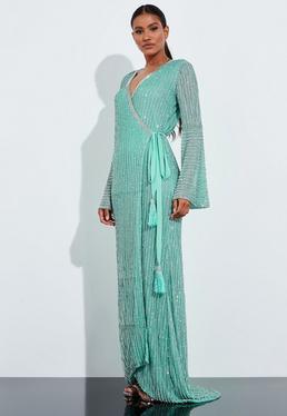 Peace + Love Mint Sequin Stripe Detail Maxi Dress