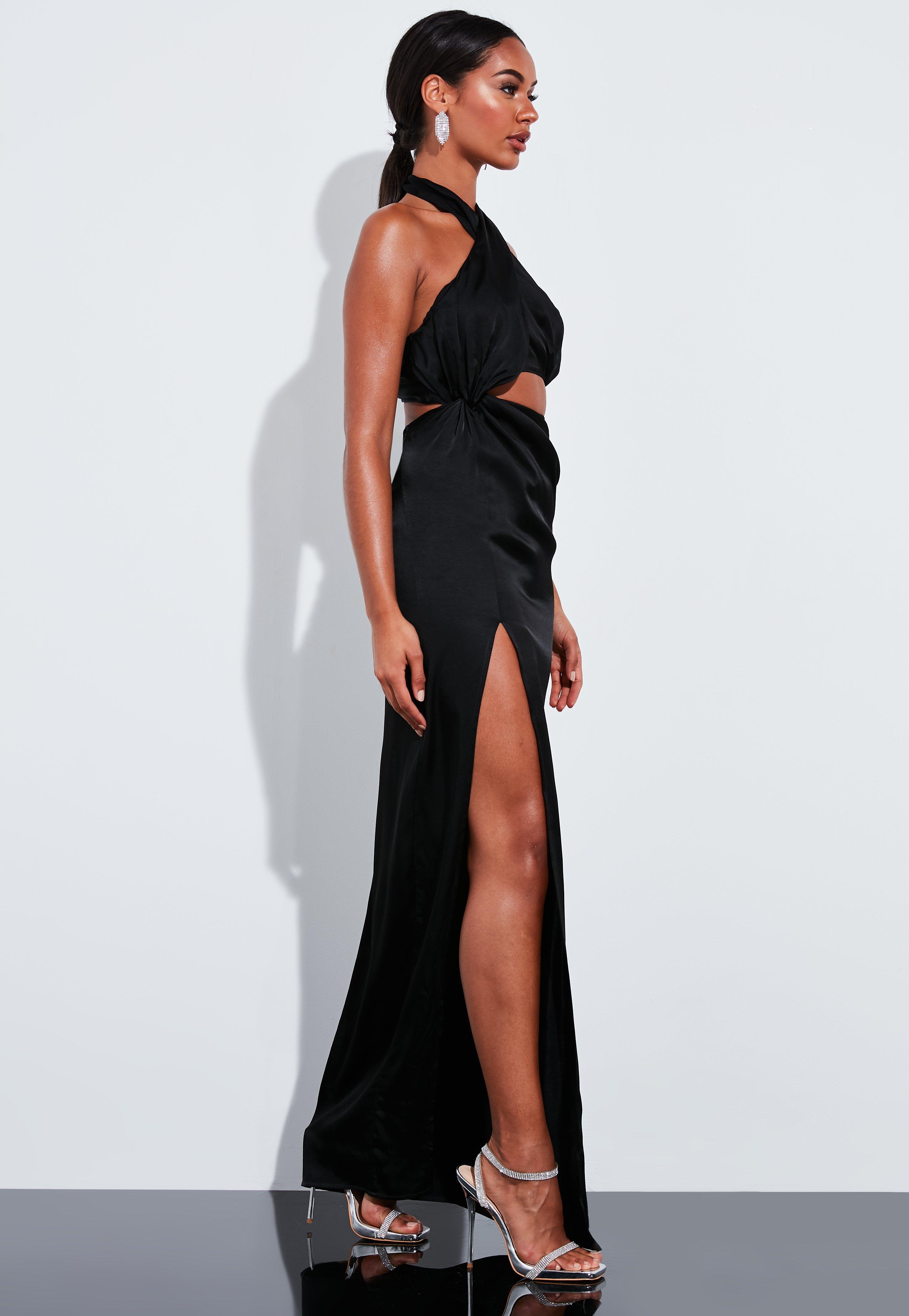 Peace + Love Czarna sukienka maxi z wiązaniem na plecach