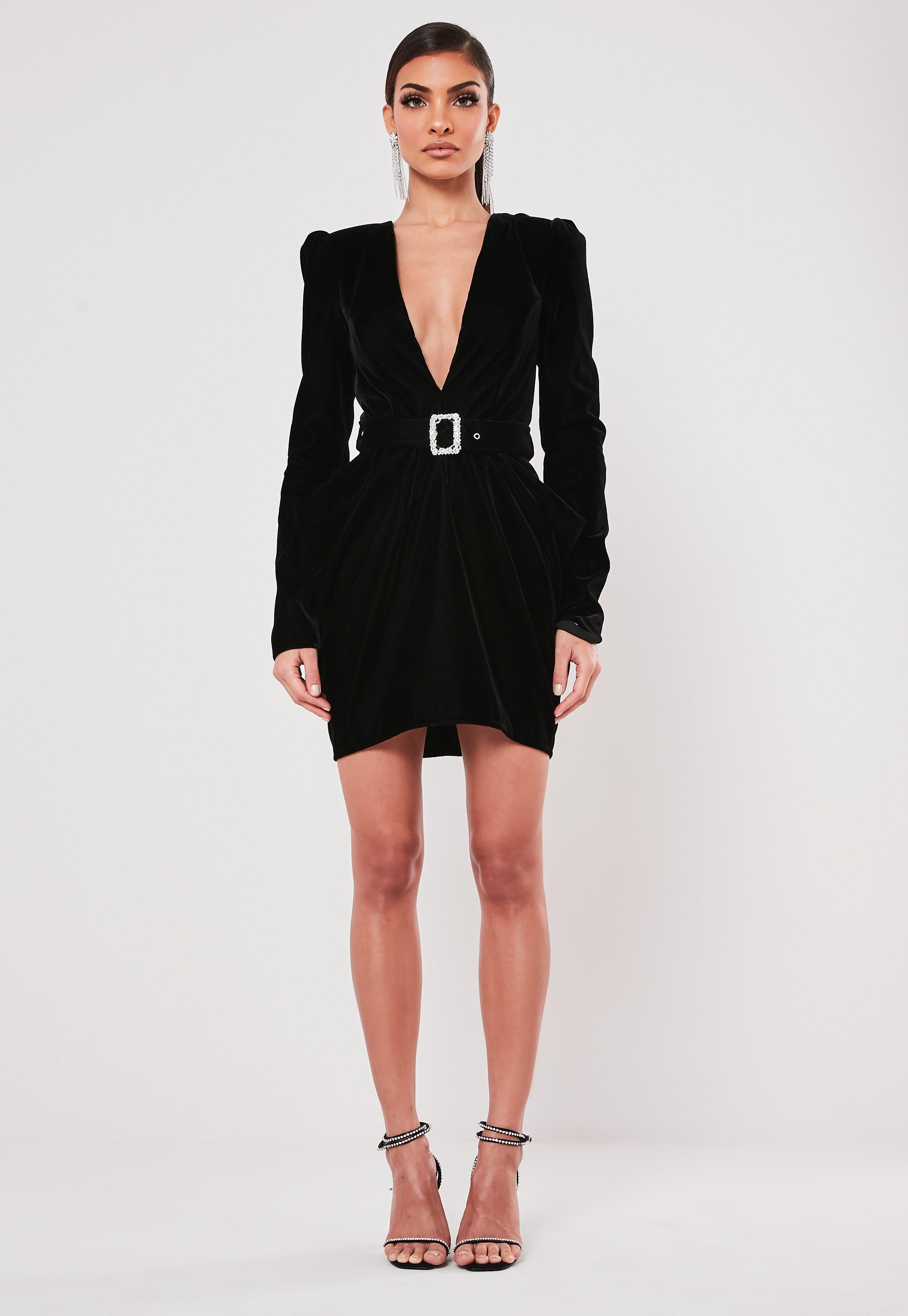 Robe blazer noire avec ceinture peace + love   Missguided