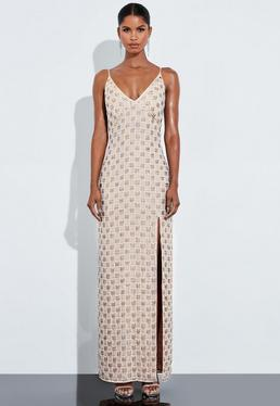 Peace + Love Silver Embellished Plunge Maxi Dress