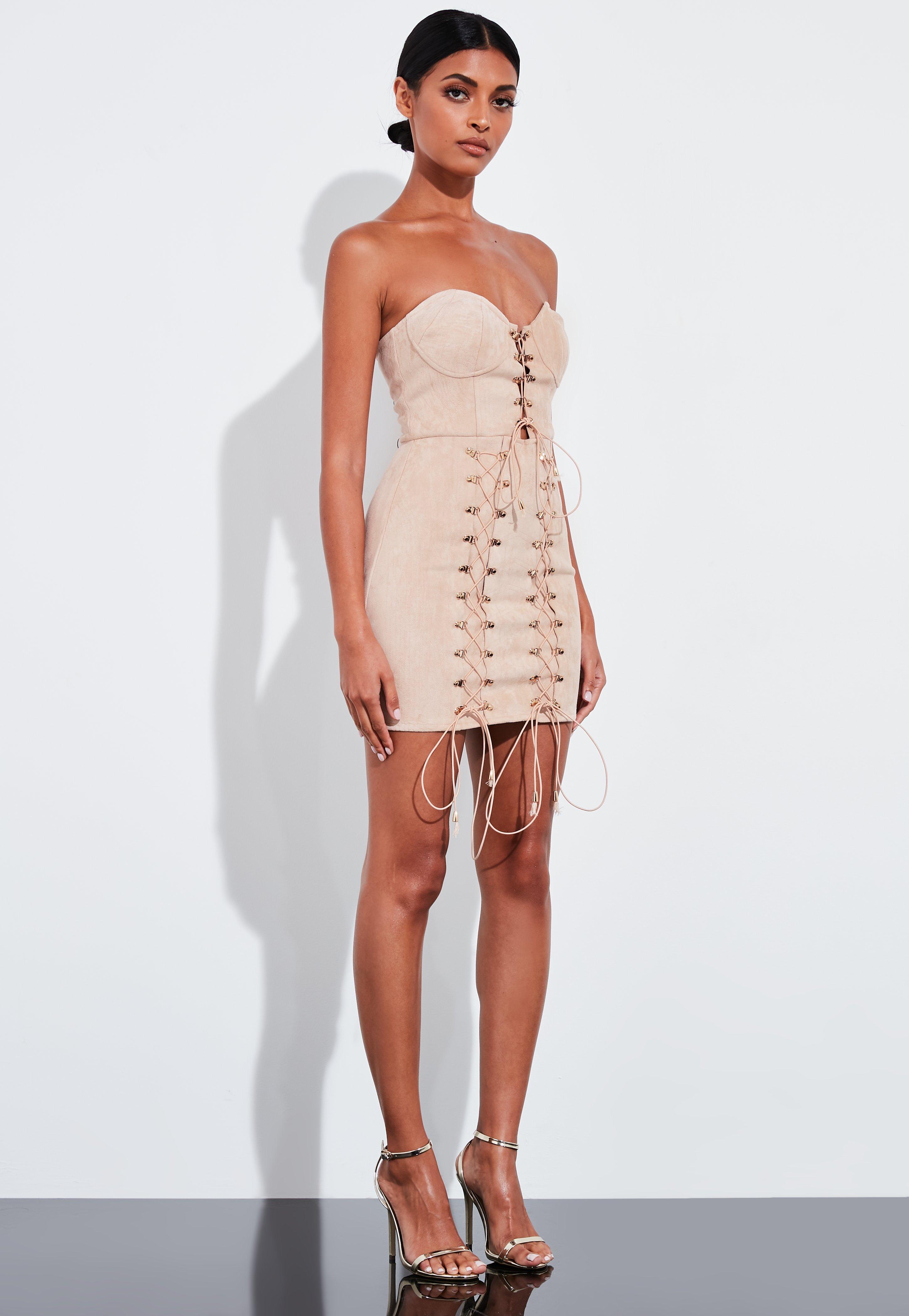 Peace Love Nude Faux Suede Lace Up Bandeau Mini Dress
