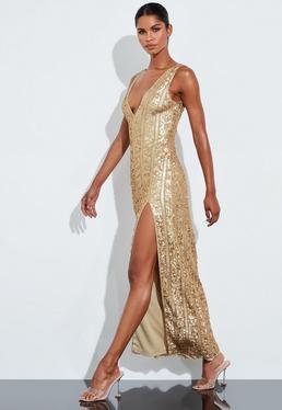 Peace + Love Gold Plunge Embellished Split Maxi Dress