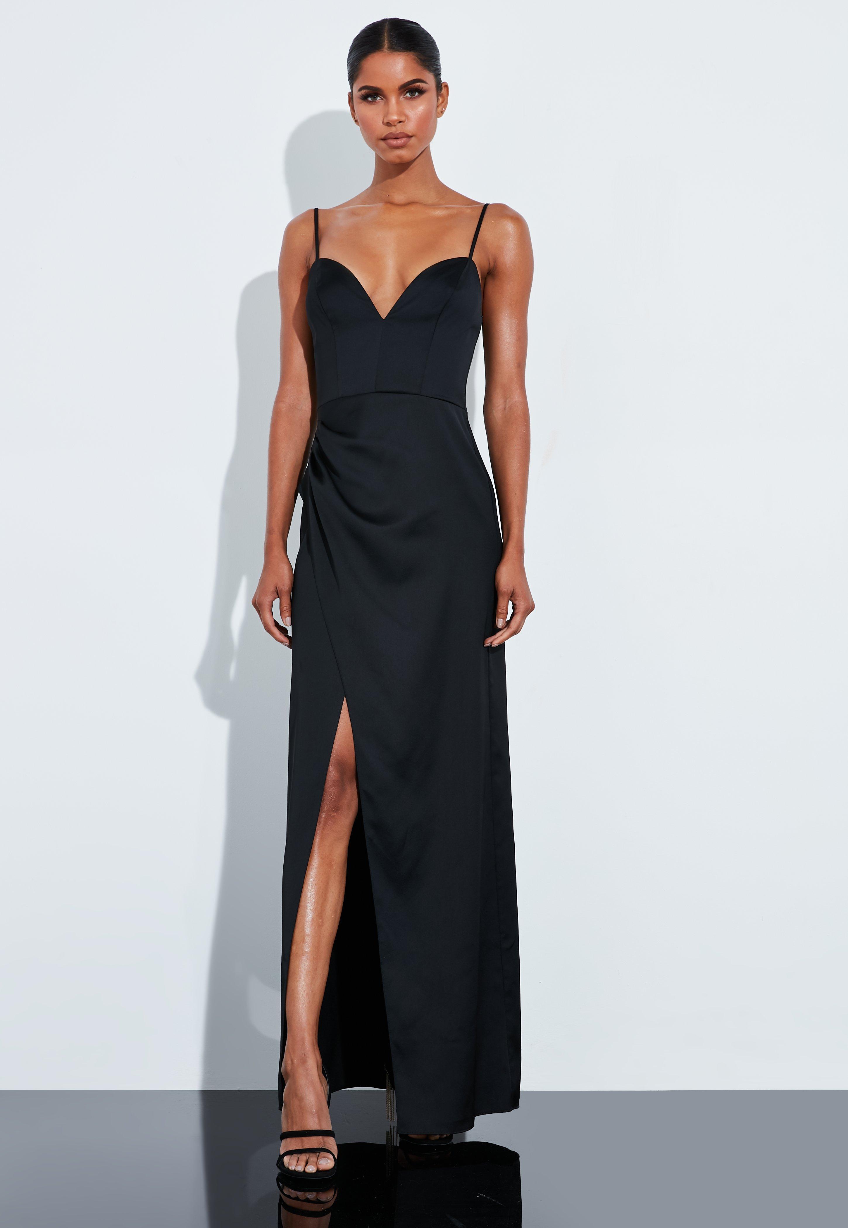 nouvelle sélection haute qualité grosses soldes Robe longue noire en satin fendue Peace + Love