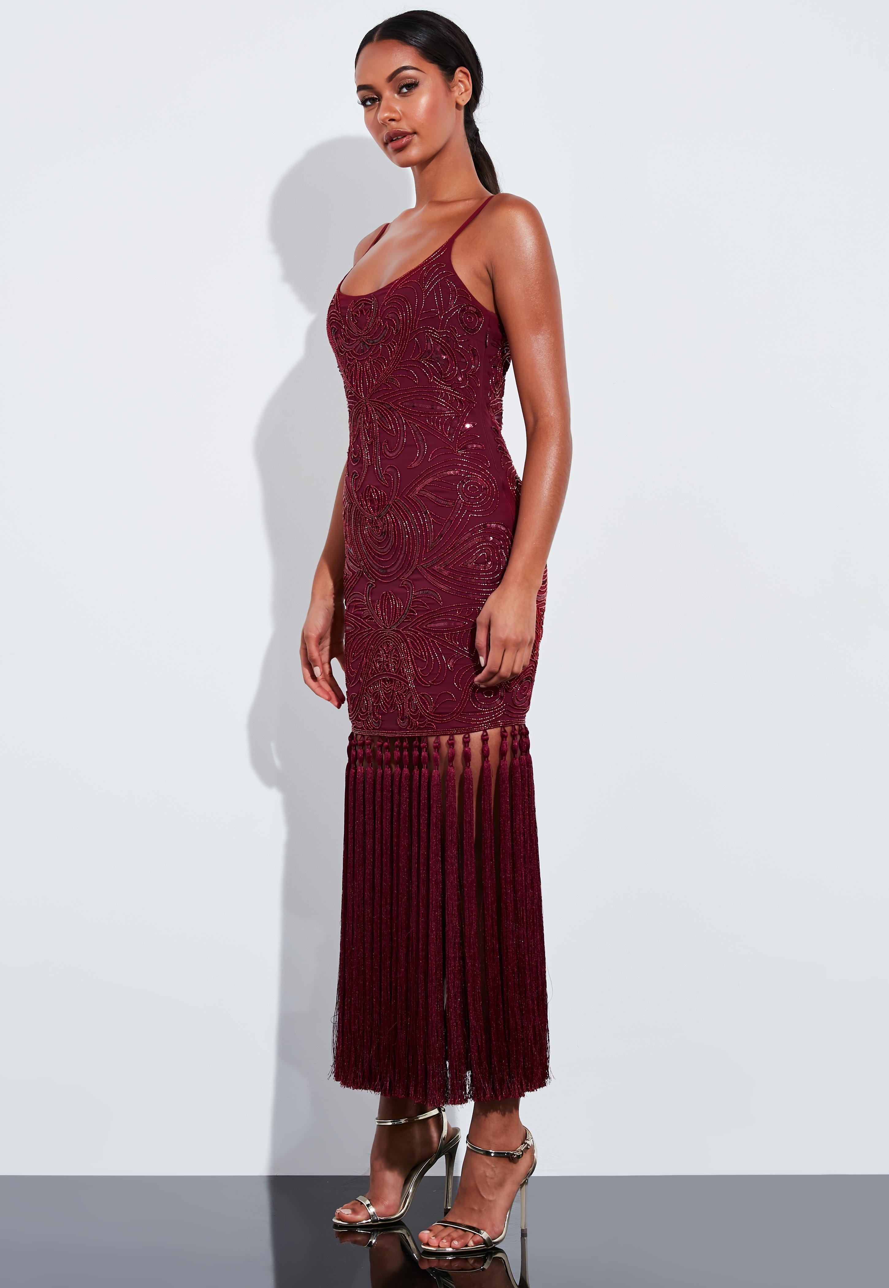 exclusive range best online top brands Robe longue bordeaux à paillettes Peace + Love