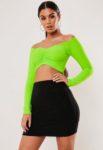 Neon Green Ruched Bardot Crop Top by Missguided