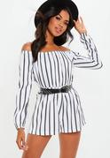 Striped Bardot Playsuit White