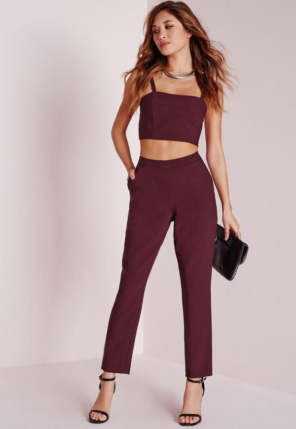 Skinny Crepe Trousers Burgundy