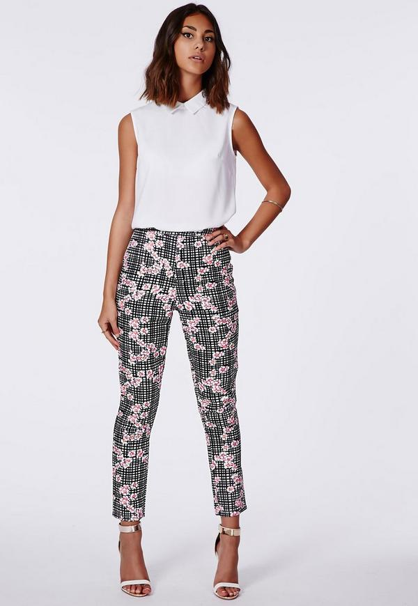 Floral Check Trousers Black