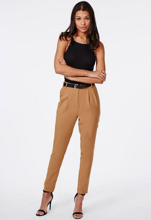high waisted tailored belted trouser camel