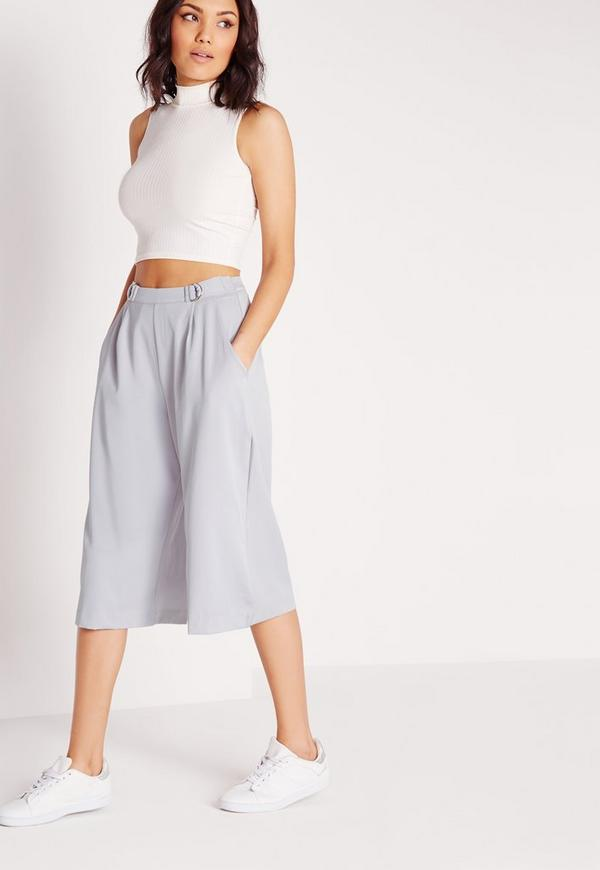 Buckle Detail Culottes Grey