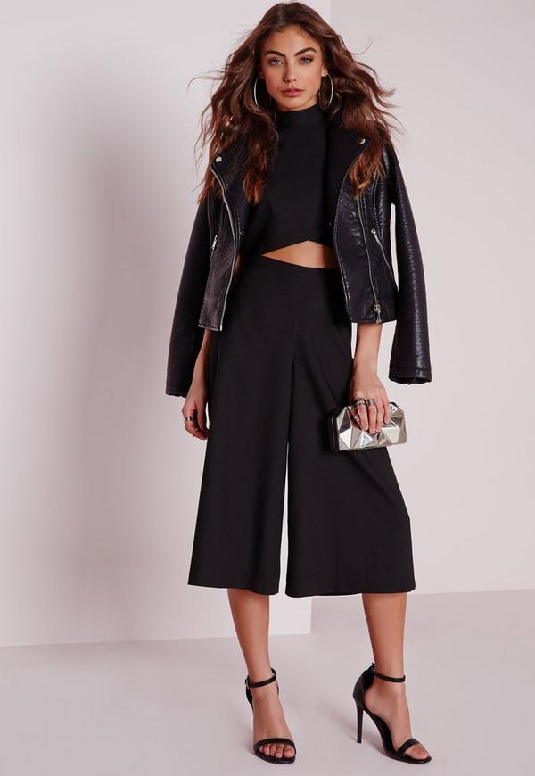 Crepe High Waisted Tailored Culottes Black