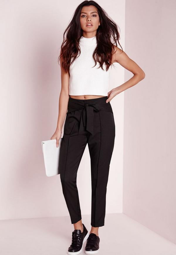 pantalon cigarette noir avec ceinture noeud missguided. Black Bedroom Furniture Sets. Home Design Ideas