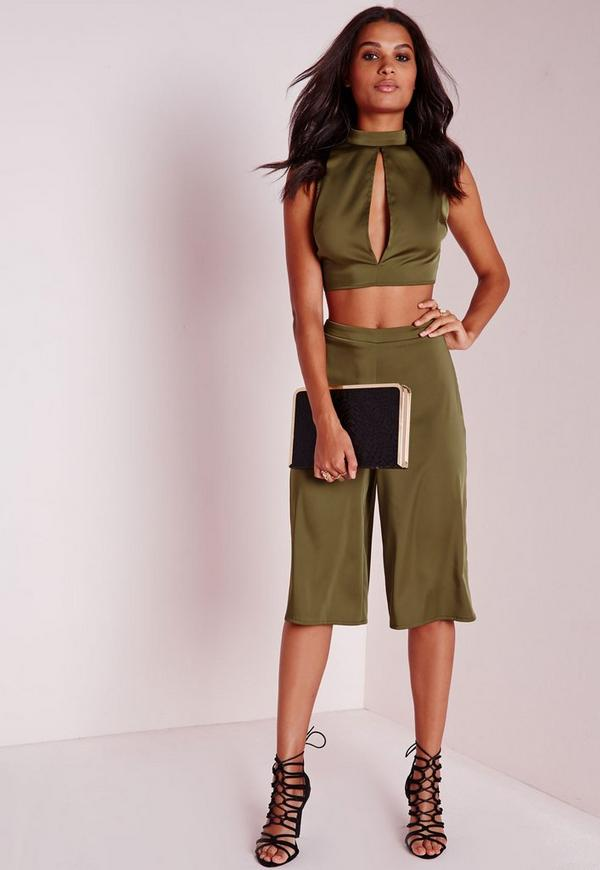 Satin Feel Culottes Khaki Green