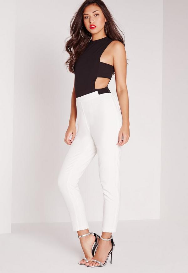 Contrast Waistband Relaxed Cigarette Trousers White