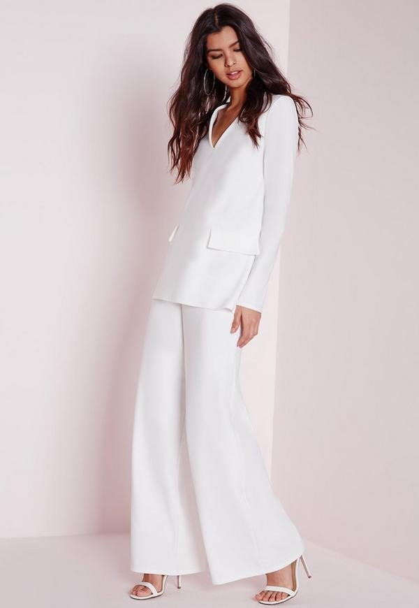 Crepe Wide Leg Trousers White