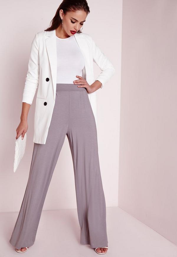 Jersey Wide Leg Trousers Grey