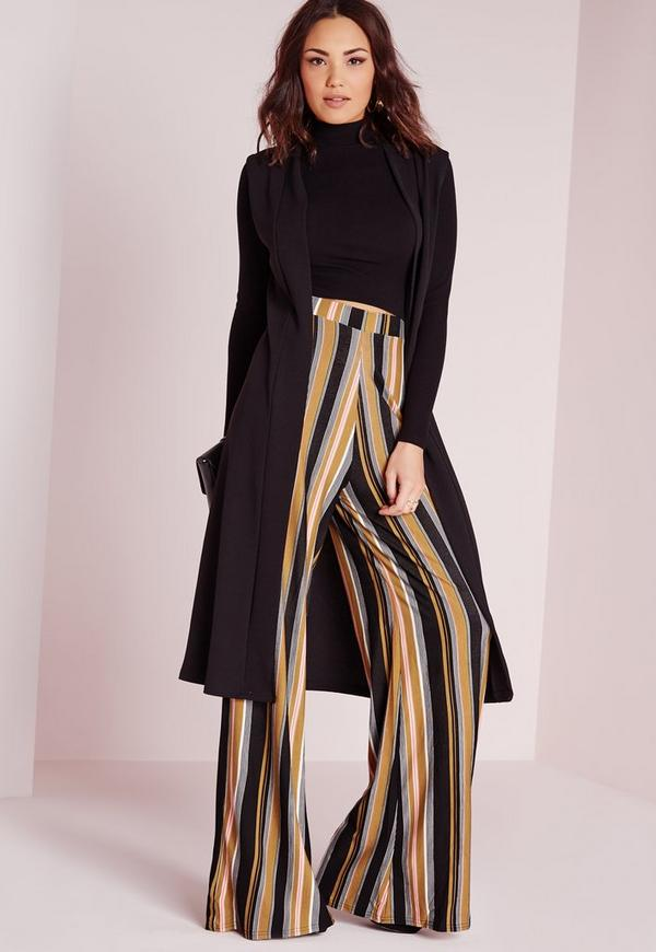 Striped Wide Leg Jersey Trousers Camel