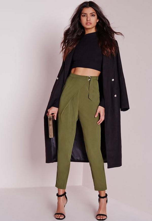 Wrap Detail Tailored Trousers Khaki