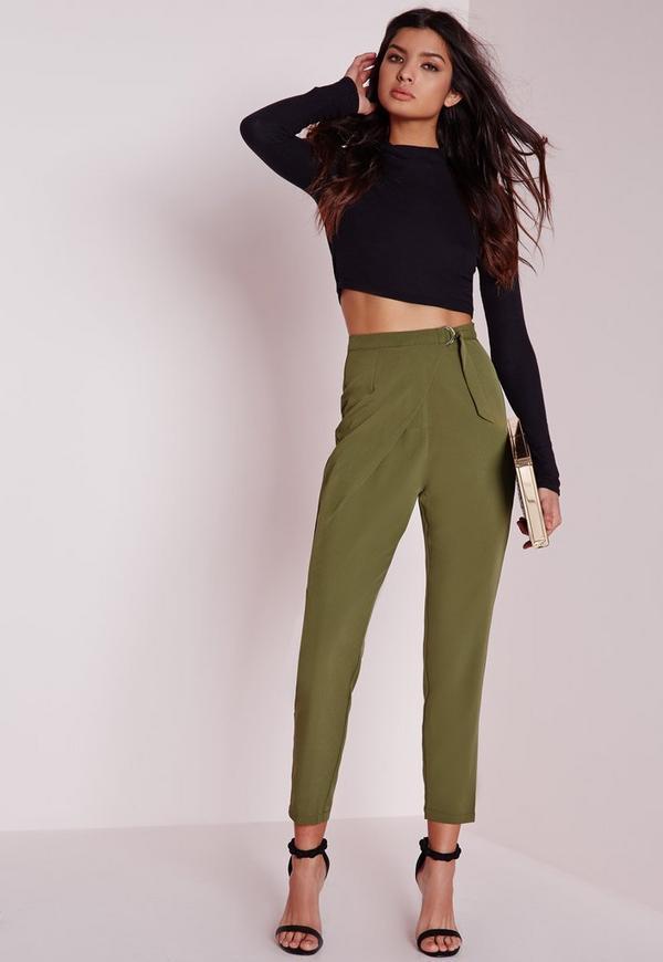 pantalon ajust vert kaki avec ceinture missguided. Black Bedroom Furniture Sets. Home Design Ideas