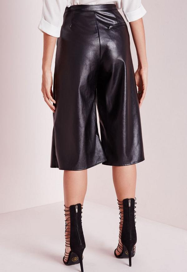 faux leather culottes black missguided