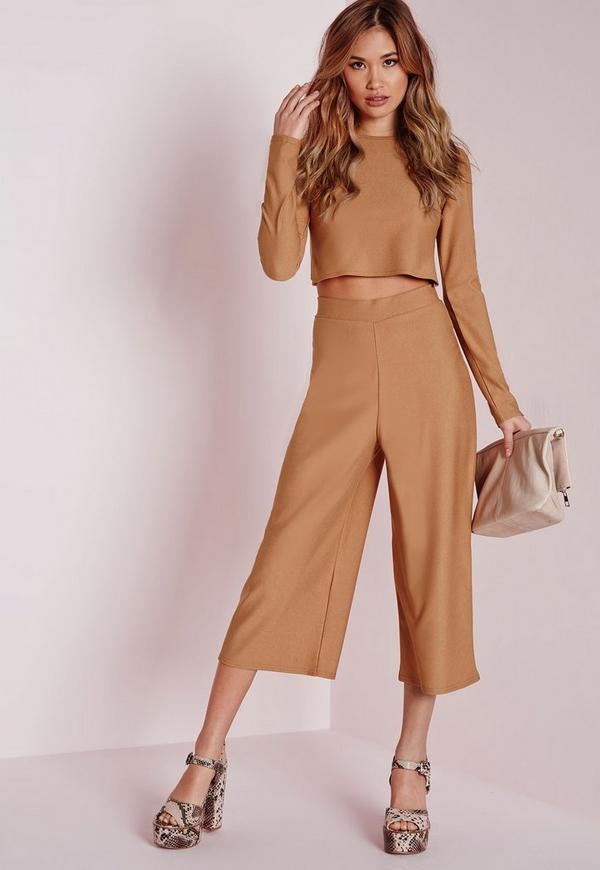 High Waisted Crepe Culottes Camel