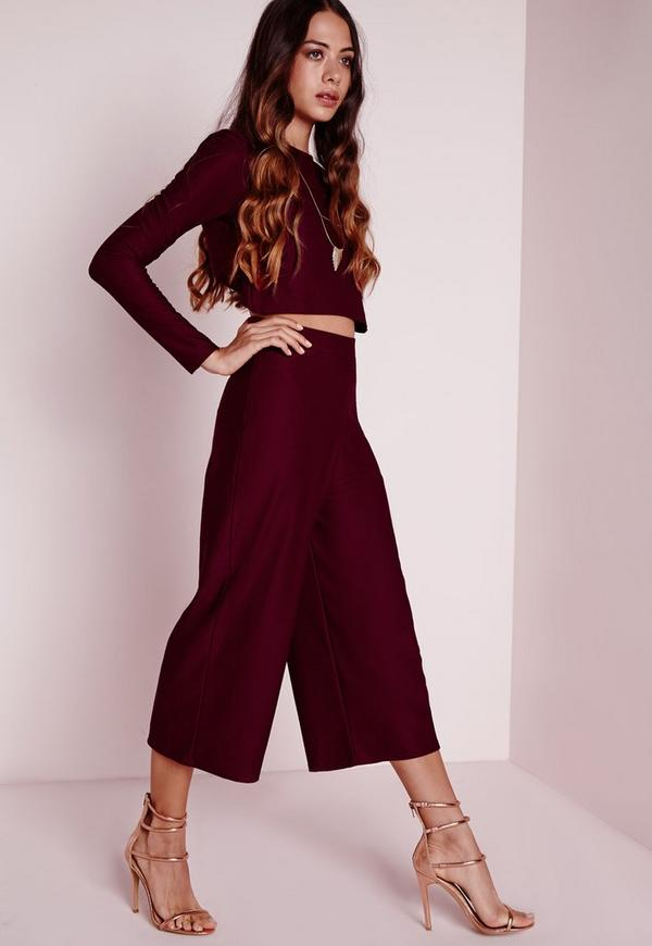 High Waisted Crepe Culottes Burgundy