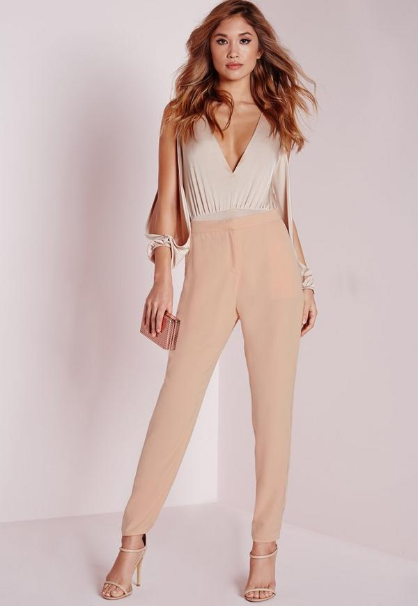 crepe cigarette trousers nude