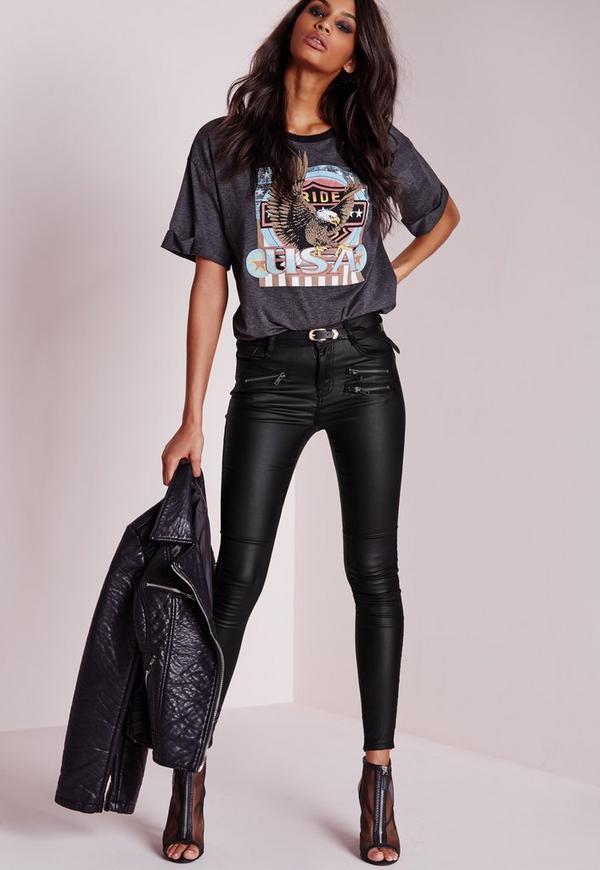 Zip Detail Coated Skinny Trousers Black