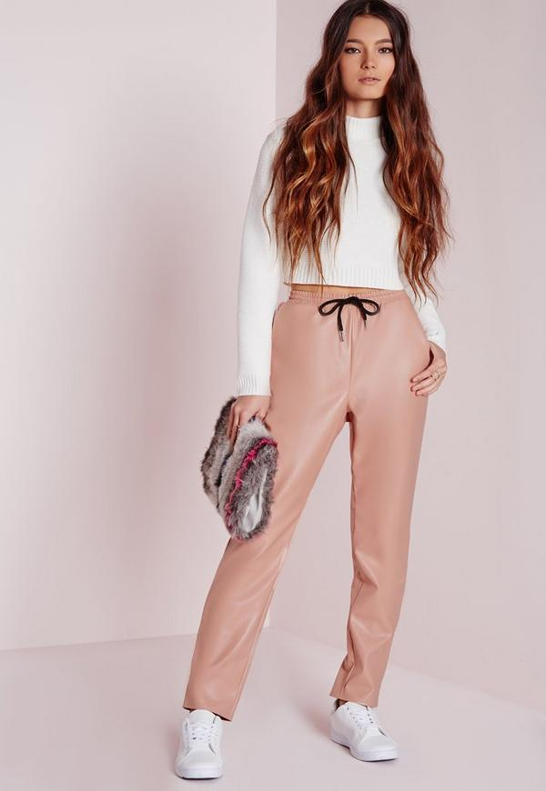 Contrast Drawstring Faux Leather Joggers Pink