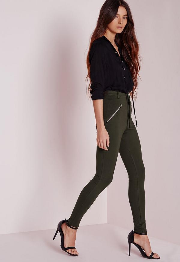 pantalon skinny vert kaki poches zipp es missguided. Black Bedroom Furniture Sets. Home Design Ideas