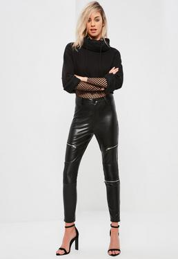 Faux Leather Zip Detail Skinny Fit Trousers Black
