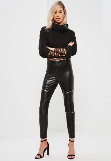 Faux Leather Zip Detail Skinny Fit Trousers Black Missguided